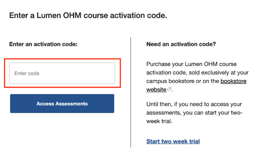 OHM Student Payment Screen