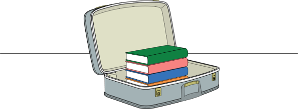 suitcase with textbooks inside