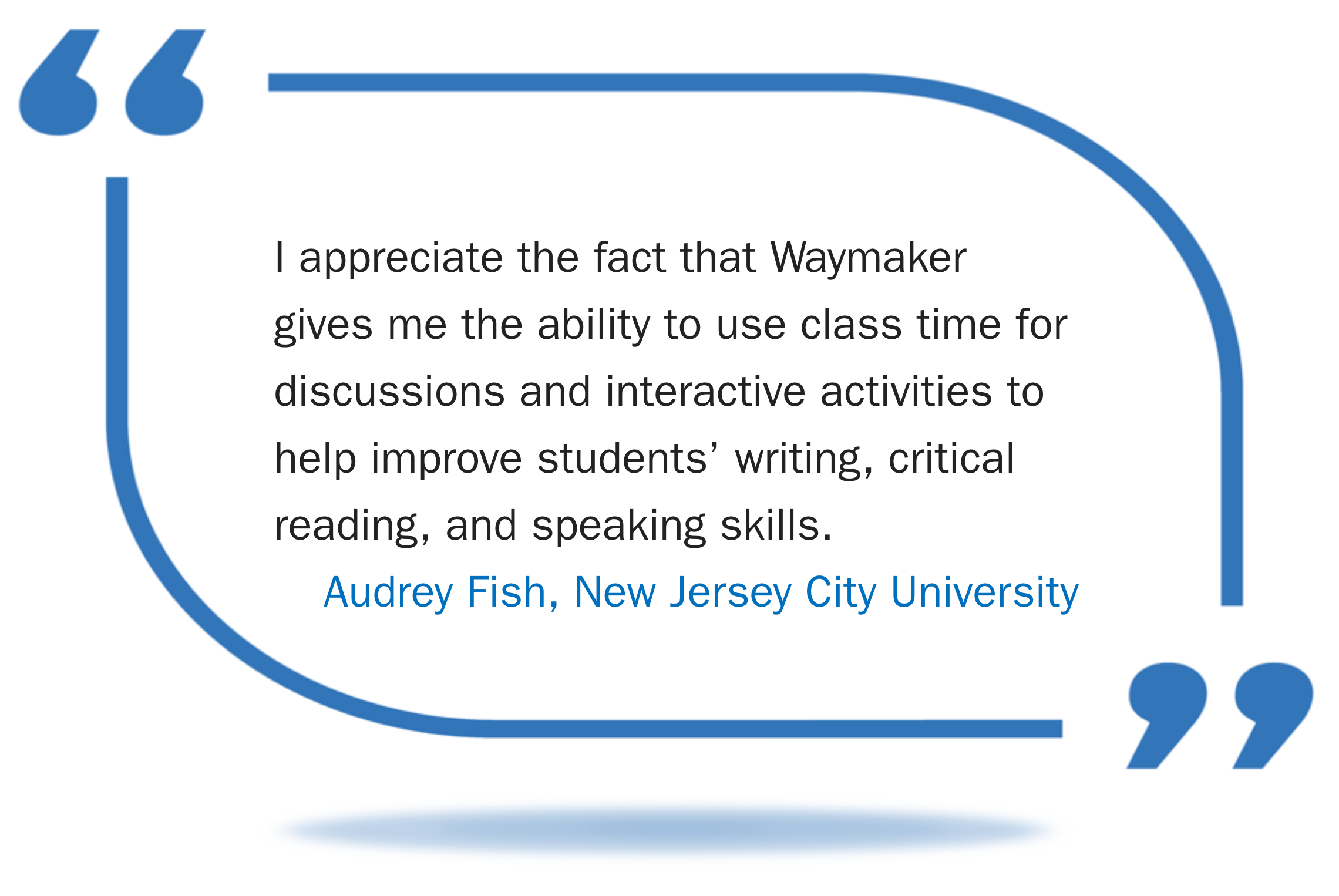 I appreciate the fact that Waymaker gives me the ability to use class time for discussions and interactive activities to help improve students' writing, critical reading, and speaking skills.  Said by Audrey Fish, New Jersey City University