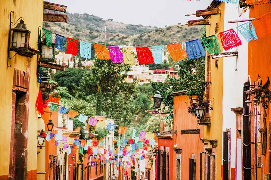 Mexico Streets with Colorful Flags